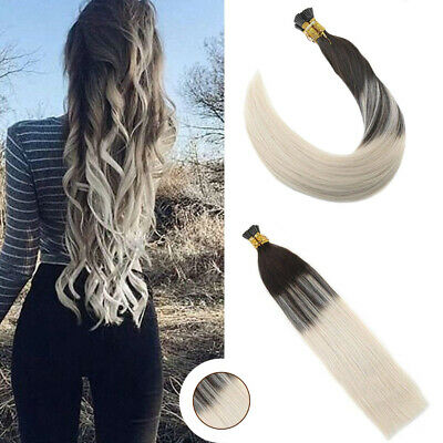 Ugeat 50g Stick I Tip Hair 100/% Remy Human Hair Extensions Ombre Brown to Blonde
