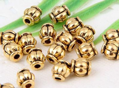 Wholesale 90/200Pcs Gold Plated (Lead-Free) Spacer Beads Findings 6x5mm