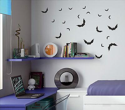 Set of 17 x BATS Halloween bat decal sticker vinyl wall art kids child room BAT1