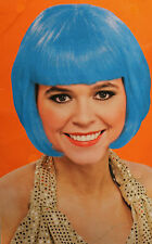 blue bob wig costume adult women bangs short hair punk 80s halloween cosplay new