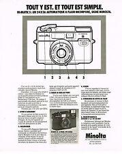 PUBLICITE ADVERTISING 054  1978  MINOLTA  appareil photo HI MATIC  SD