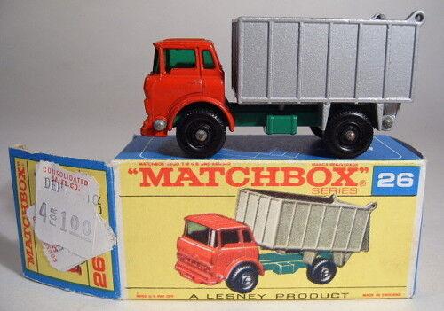 Matchbox RW 26c gmc tipper Truck rosso Siler top tardía  f  - Box