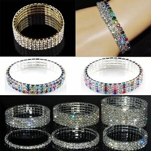 Wedding-Bridal-Crystal-Rhinestone-Stretch-Bracelet-Bangle-Wristband-Lady-Gift