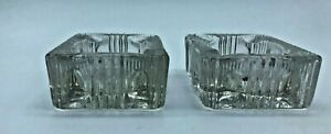 Set of two Vintage Retro Clear Cut Glass Small Rectangle Ashtray AS6