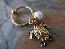 Gold Turtle Pearl Cartilage Piercing Captive Ring Earring 16G (1.2mm)