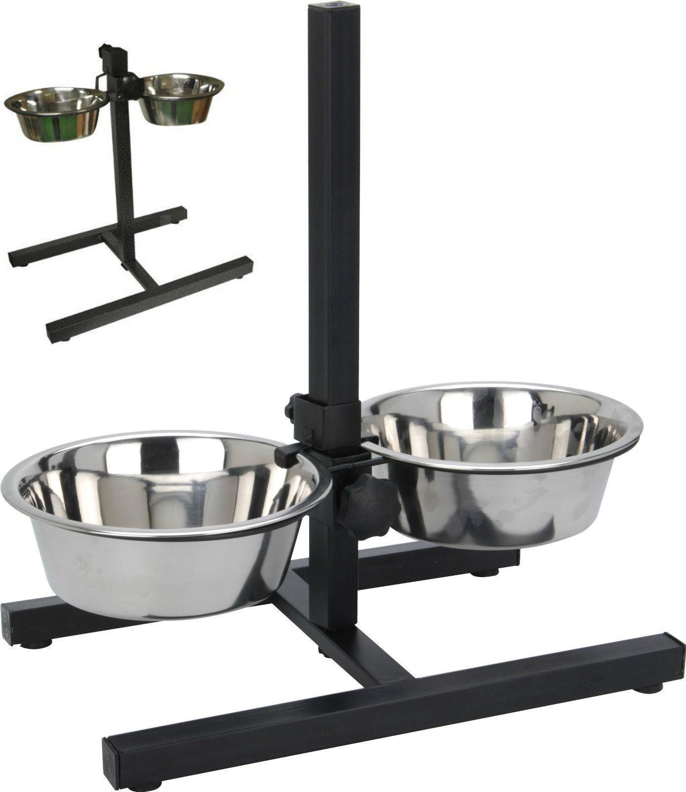 4 Pinta doppio Diner Regolabile per Cane Gatto Alimentazione Ciotola Set