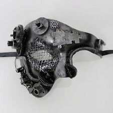 Steampunk Phantom Theater Masquerade Mask for Men - Metallic Silver