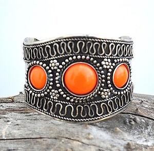 Silver antique embossed,stone, ethnic banjara CUFF bracelet