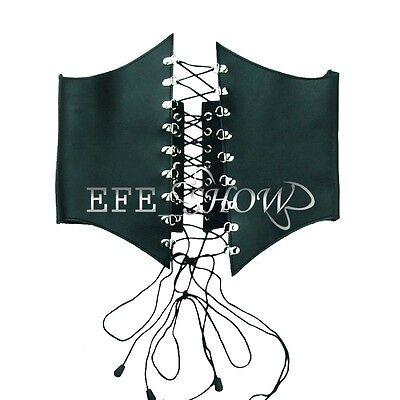 Womens Real Leather Wide High Waist Harness Adjustable Cincher Belt Corset Black