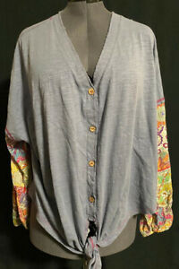 Umgee-USA-Oversized-Button-Front-Gray-Tie-Front-Boho-Chic-Blouse-Size-1XL-GUC