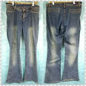 Womens-Blue-Green-Dark-Wash-Denim-Flare-Mid-Rise-Jeans-size-9-10