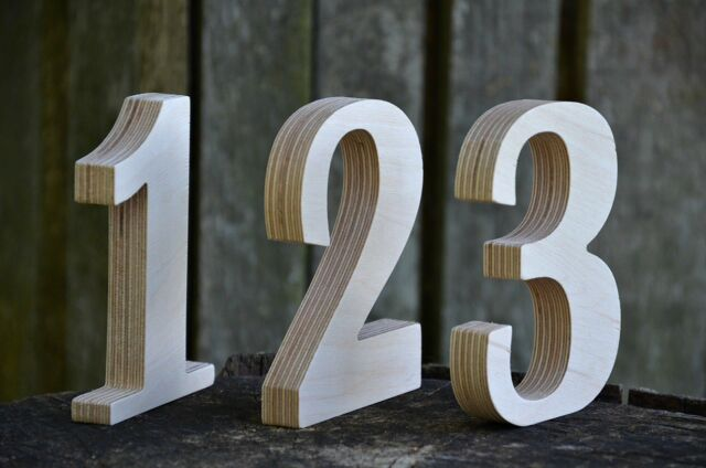 5'' 1-15 Wooden Numbers, Free Standing Table Numbers for Wedding, Cafe
