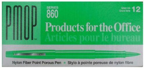 Papermate PMOP 860 Green Nylon Fiber Point Porous Pen Dozen NEW 12 Pens 864-11