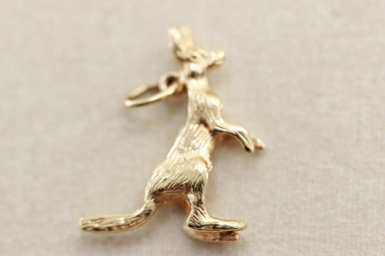 Vintage 14K oro 3D Solido Canguro Ciondolo 14KARAT 14KARAT 14KARAT Giallo Viaggio Australia c8e0ba