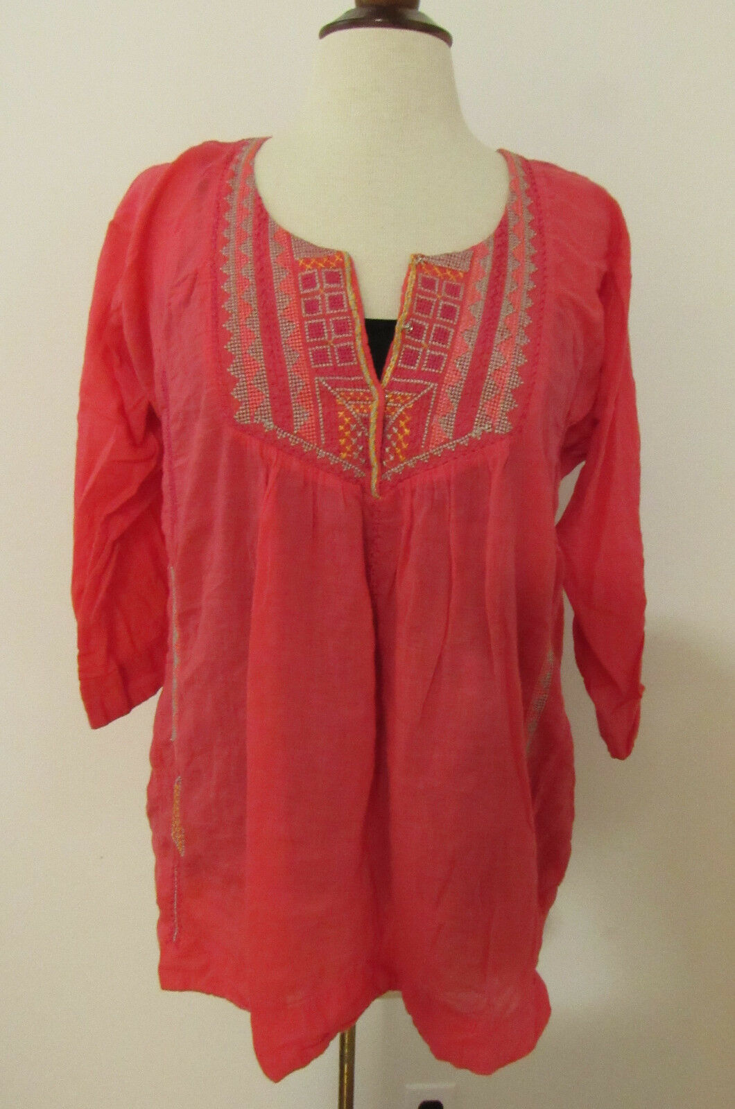 damen JOHNNY WAS BIYA Coral Embroiderot Boho Blouse Tunic Top  Small (D20)