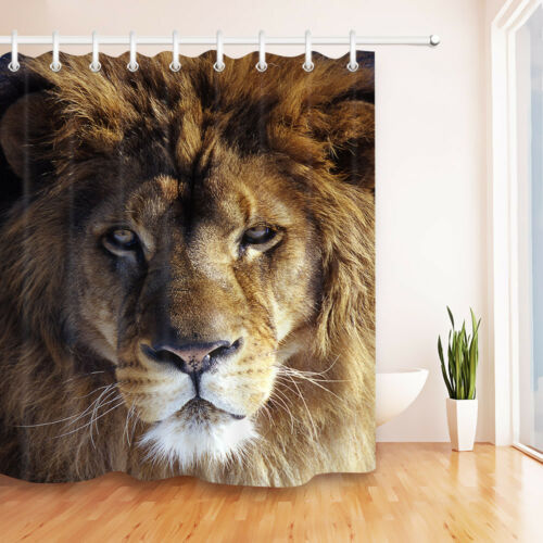 A Africa Lion/'s Portrait Shower Curtain Set Bathroom Polyester Waterpoof Fabric