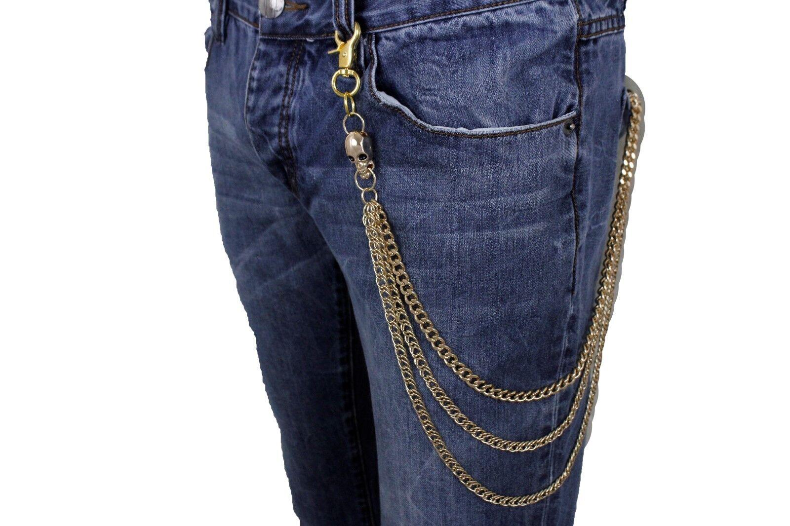Herren Gold Metall Etui Ketten Schlüsselanhänger Rock Punk Link Jeans 3 Strähnen