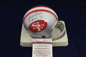 Y-A-Tittle-Signed-Autograph-49ers-T-B-2-Bar-Mini-Helmet-W-HOF-71-JSA-W335492