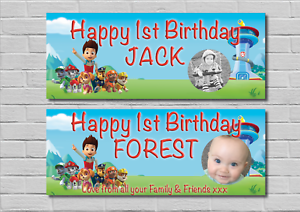 Image Is Loading Birthday Party Banner Decoration PAW PATROL 1st 2nd