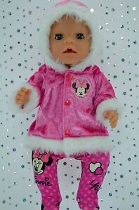 """Play n Wear Doll Clothes To Fit 17"""" Baby Born HOT PINK VELVET JACKET~TIGHTS"""