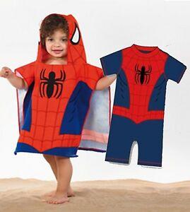 Doppelpack-Spiderman-Kapuzen-Poncho-amp-UV-Sonne-Badeanzug-Kostuem-12-18-Monate
