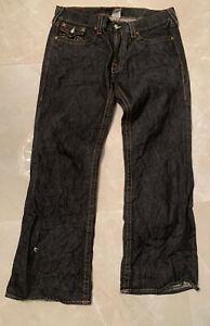 Jeans Para Hombre True Religion Billy Tamano 40x32 Lavado Negro Corte De Botas Ebay