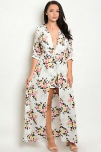 60997b5907f Image is loading Womens-Plus-Size-Ivory-Floral-Romper-Maxi-Dress-
