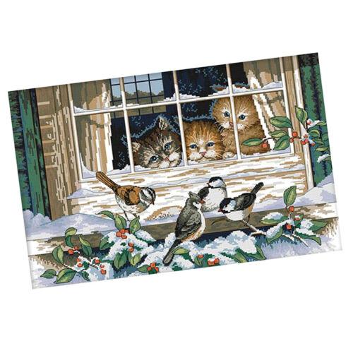 Stickpackung Stickerei Diy Handarbeit Kreuzstich Kit Katzen und Vögel