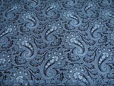 2.3 Yards Quilt Cotton Fabric - Timeless Treasures Noir Paisley Negative Nat Blk