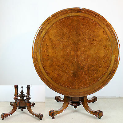 Victorian Burr Walnut Inlaid Circular Loo/centre/dining Table 4ft/48in Diameter Antiques