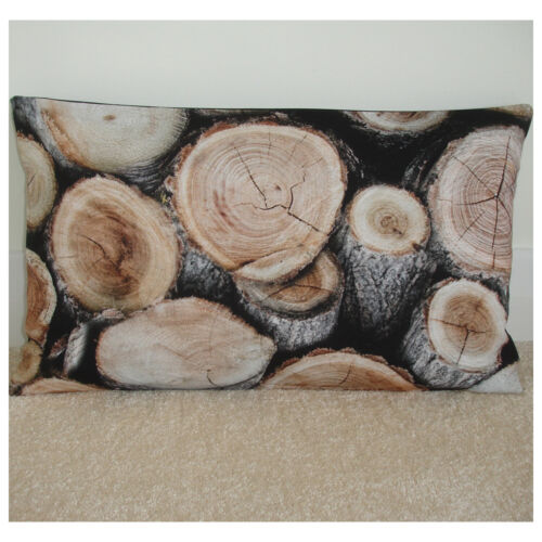 "20/""x12/"" Oblong Bolster Logs Cushion Cover Rustic Wood Wooden Log Cabin Mancave"