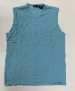 Vtg-DKNY-Elastic-V-Neck-Athletic-Tank-Mens-Blue-Size-XL-NEW