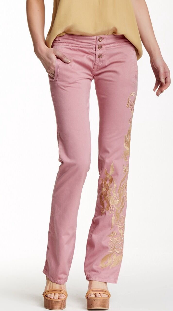 Da-Nang Embroiderot Dragon Pants Mauve XS NWT  194