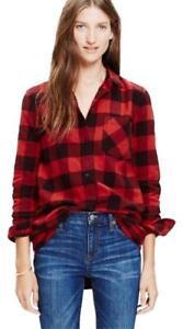 53e82a7391e MADEWELL Women s FLANNEL EX-BOYFRIEND Shirt RED Buffalo Check Long ...