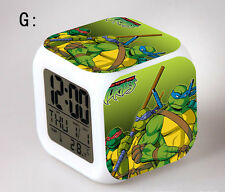Ninja turtles LED 7 Colors Change Night light Colorful kids Alarm Clock Gift