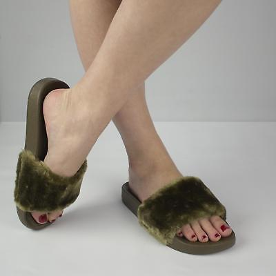 Shumo TITO Ladies Womens Slip On Comfy Cosy Fur Sliders Mules Slippers Khaki