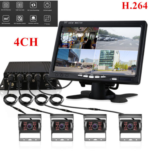 4Pcs CCD IR Camera 4CH H.264 Car Vehicle DVR Video Recorder Box 7 Car Monitor