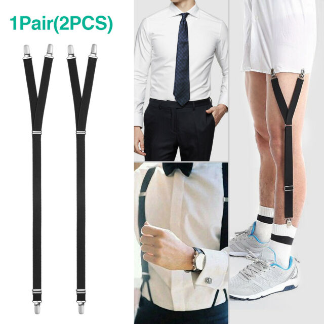 2Pcs Mens Elastic Garter Belt Sock Shirt Stay Holder Clip Non-slip Locking Clamp