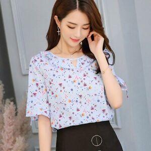 Short-Sleeve-Blouse-Chiffon-Fashion-Loose-Summer-Ladies-Women-T-Shirt-Shirt-Top