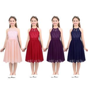 Kids Girls Halter Ruffled Blue Princess Party Tutu Tops T-shirt Sundress Clothes