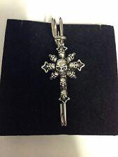 """Demon Skulls Cross kilt pin Scarf or Brooch pin 3""""  7.5 cm CH168"""