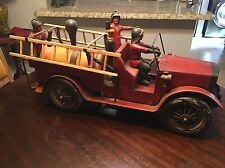 Fire Truck HUGE! Wood & Metal with 3 Fireman and Ladders Antique Vintage