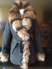 P. 1888 made in Italy GenuineFOX FUR COLLAR Luxury winter jacket Sz 42/M $1350.0