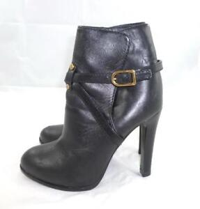 50626d43108b TORY BURCH DORESE 7 USED BLACK GOLD LEATHER HARNESS HEELS BOOTIES ...