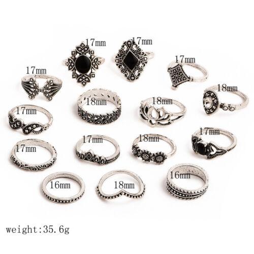 Set 15 anillos de anillo las puntas de los dedos en las extremidades dedo anular anillo piedra cristal pedrería