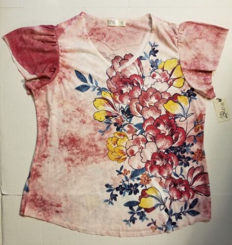 Terra /& Sky Womens Top Pink Ruffle Sleeve T Shirt Sublimation Plus Size 0X 3X