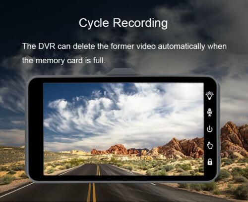 "4/"" Dual Lens HD 1080P Vehicle Black Box Car Video DVR Recorder Rearview Monitor"