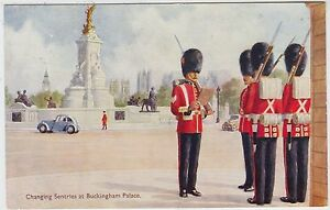 CHANGING SENTRIES AT BUCKINGHAM PALACE  J Salmon 4135  c1950s era postcard - <span itemprop=availableAtOrFrom>Lincoln, United Kingdom</span> - CHANGING SENTRIES AT BUCKINGHAM PALACE  J Salmon 4135  c1950s era postcard - Lincoln, United Kingdom