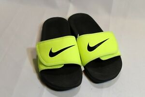 7b3a5c202a991 New Kids Boys Kids Nike Kawa Volt black cushioned adjustable slide ...