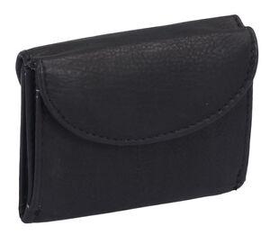 Miniboerse-Geldboerse-LEAS-in-Echt-Leder-Vorne-Klein-hinten-Schein-039-039-schwarz
